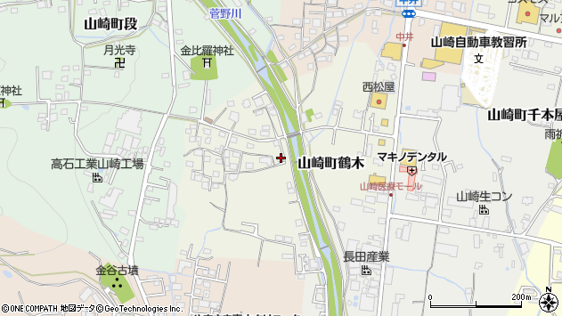 〒671-2553 兵庫県宍粟市山崎町鶴木の地図
