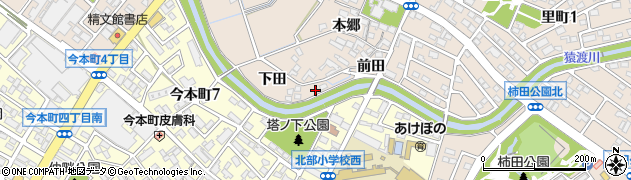 愛知県安城市里町(下田)周辺の地図