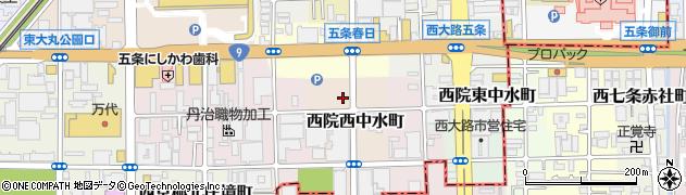 京都府京都市右京区西院西中水町周辺の地図