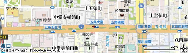 京都府京都市下京区下五条町周辺の地図