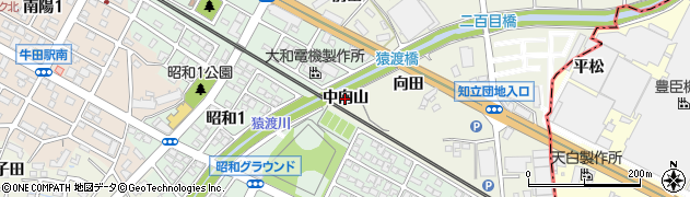 愛知県知立市牛田町(中向山)周辺の地図