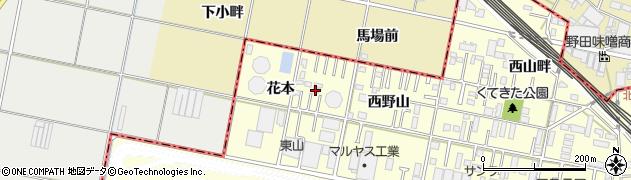 愛知県岡崎市北野町(花本)周辺の地図