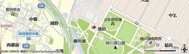 愛知県豊田市畝部東町(池田)周辺の地図