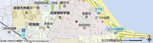 滋賀県大津市木下町周辺の地図