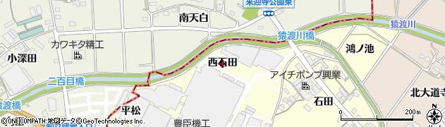 愛知県安城市今本町(西石田)周辺の地図