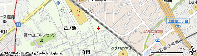愛知県知立市上重原町周辺の地図