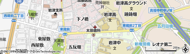 愛知県岡崎市東蔵前町(馬場)周辺の地図