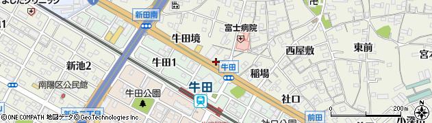 愛知県知立市牛田町(中新切)周辺の地図