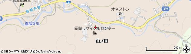 愛知県岡崎市真福寺町山ノ田周辺の地図