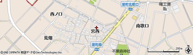 愛知県安城市里町(宮西)周辺の地図