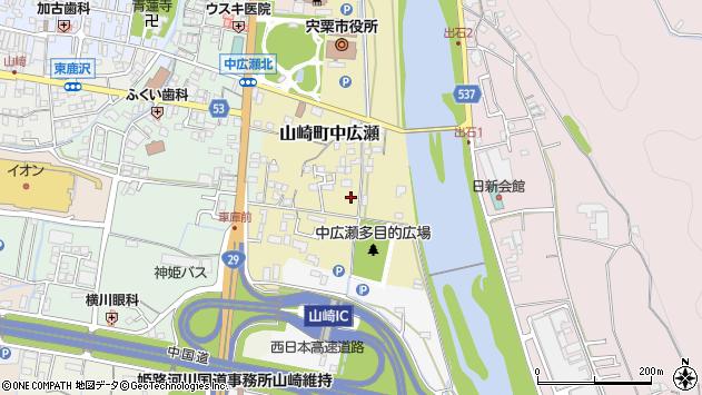 〒671-2574 兵庫県宍粟市山崎町中広瀬の地図