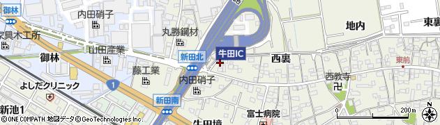 愛知県知立市牛田町(新田北)周辺の地図