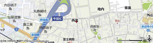 愛知県知立市牛田町(西裏)周辺の地図