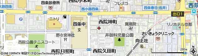 京都府京都市右京区西院坤町周辺の地図