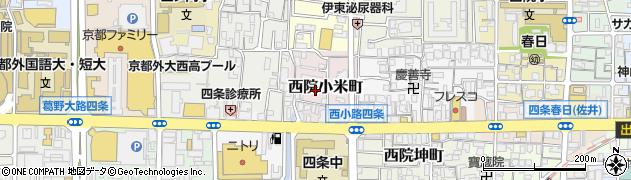 京都府京都市右京区西院小米町周辺の地図