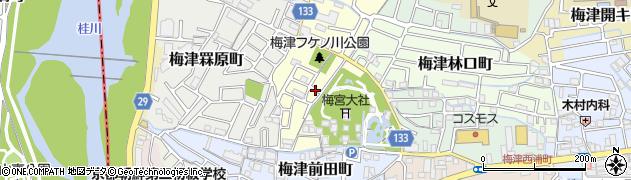 京都府京都市右京区梅津フケノ川町周辺の地図