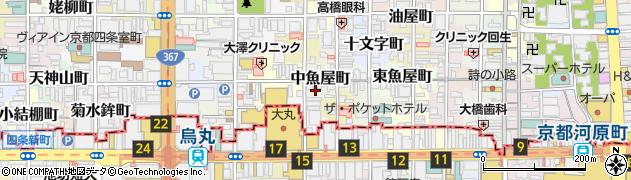 京都府京都市中京区中魚屋町周辺の地図