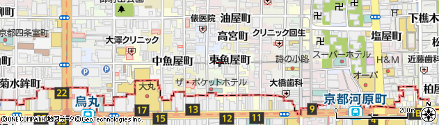 京都府京都市中京区東魚屋町周辺の地図