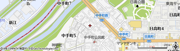 愛知県刈谷市中手町周辺の地図