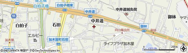 愛知県東海市加木屋町(中井道)周辺の地図