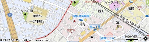 愛知県知立市宝町(築地道)周辺の地図
