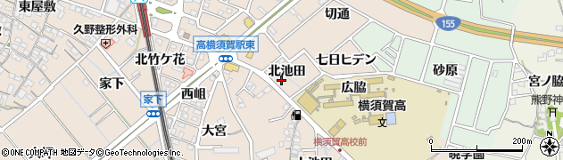 愛知県東海市高横須賀町(北池田)周辺の地図
