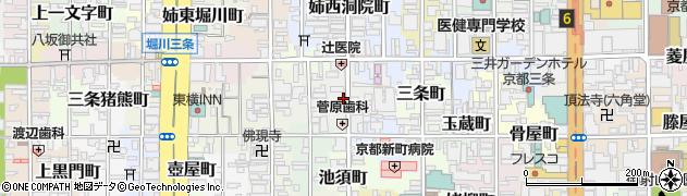 京都府京都市中京区柳水町周辺の地図