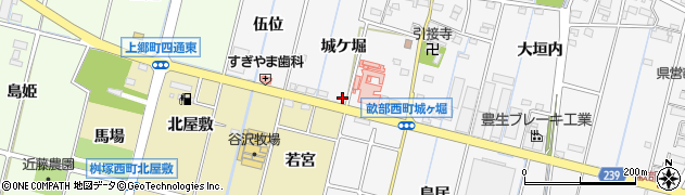 愛知県豊田市畝部西町(城ケ堀)周辺の地図