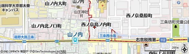 京都府京都市中京区西ノ京島ノ内町周辺の地図