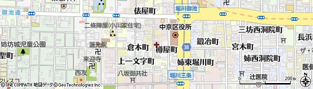 京都府京都市中京区三坊猪熊町南組周辺の地図