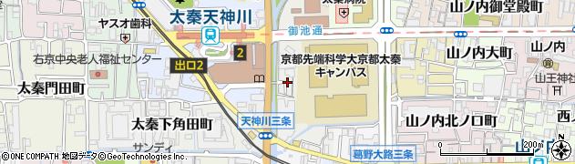 京都府京都市右京区太秦安井松本町周辺の地図