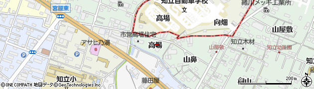 愛知県知立市山屋敷町(高場)周辺の地図