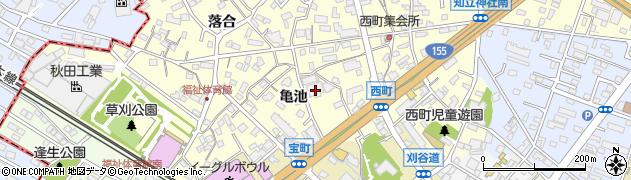 愛知県知立市西町(亀池)周辺の地図