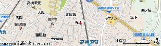 愛知県東海市高横須賀町(西ノ丁)周辺の地図