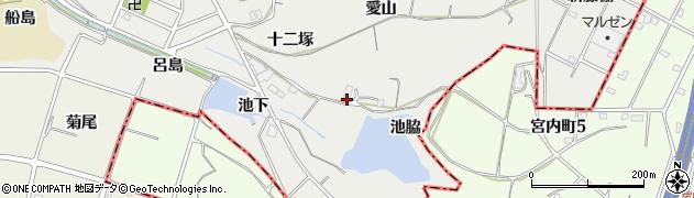 愛知県東海市富木島町(池脇)周辺の地図