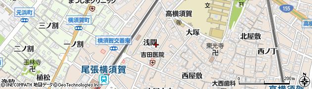 愛知県東海市高横須賀町(浅間)周辺の地図
