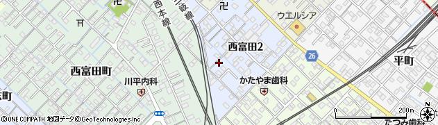 三重県四日市市西富田周辺の地図