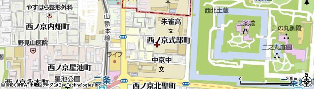 京都府京都市中京区西ノ京式部町周辺の地図