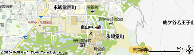 京都府京都市左京区永観堂町周辺の地図
