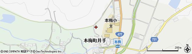 京都府亀岡市本梅町井手(西山)周辺の地図