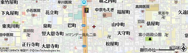 京都府京都市中京区東九軒町周辺の地図