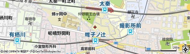 京都府京都市右京区太秦垂箕山町周辺の地図