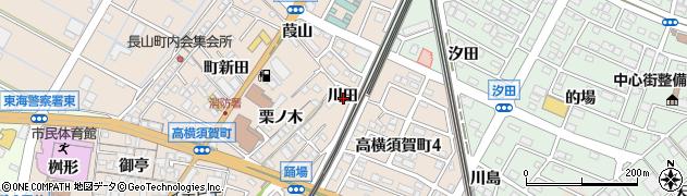 愛知県東海市高横須賀町(川田)周辺の地図