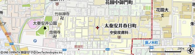 京都府京都市右京区太秦安井東裏町周辺の地図