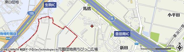 愛知県豊田市花園町(馬捨)周辺の地図