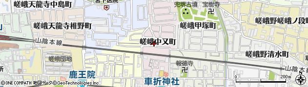 京都府京都市右京区嵯峨中又町周辺の地図