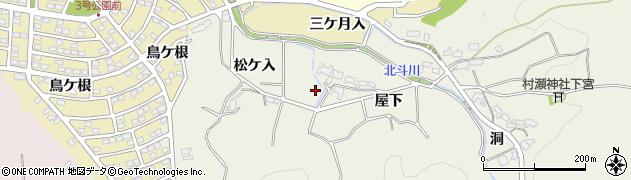 愛知県岡崎市奥山田町(屋下)周辺の地図