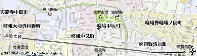 京都府京都市右京区嵯峨甲塚町周辺の地図