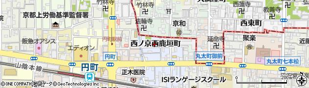 京都府京都市中京区西ノ京西鹿垣町周辺の地図