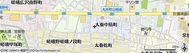 京都府京都市右京区太秦中筋町周辺の地図